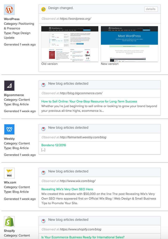 Crayon Intel Free screenshot, competitor digital presence feed