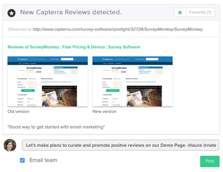 Crayon Intel Pro screenshot, competitor digital presence feed